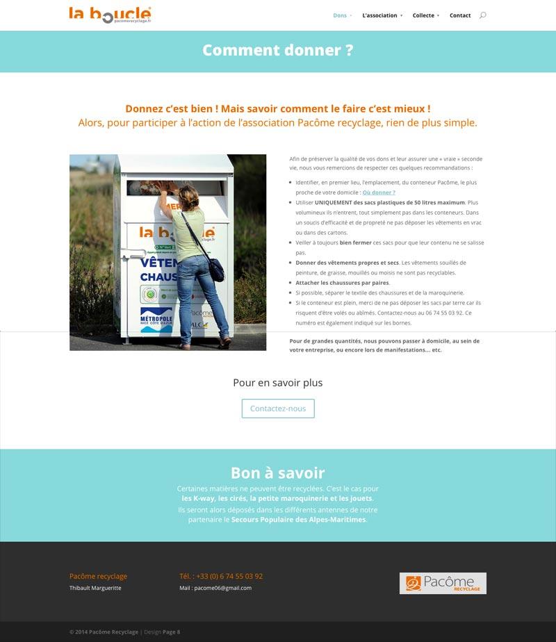 Pacôme Recyclage - Site Internet - Comment donner ?