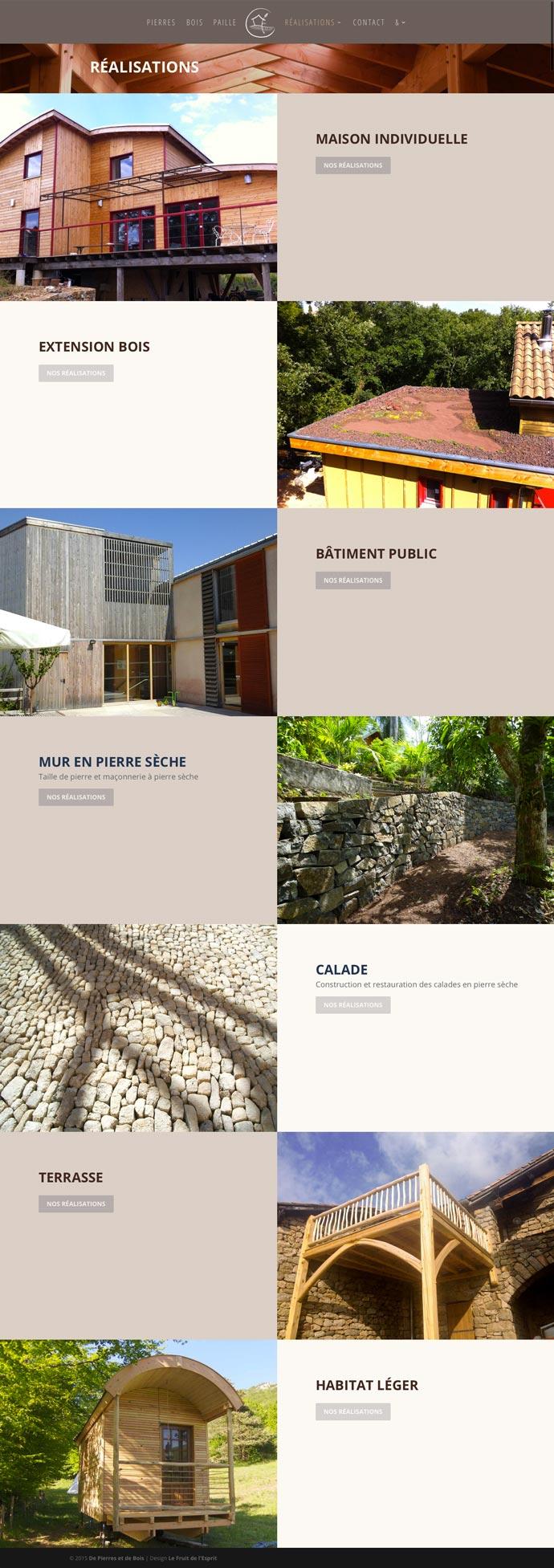 De Pierres et de Bois - Site Internet - Réalisations