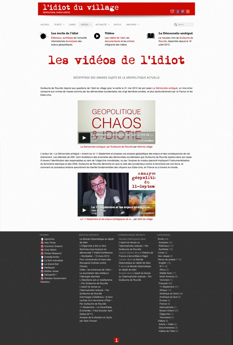 L'Idiot du Village - Site Internet