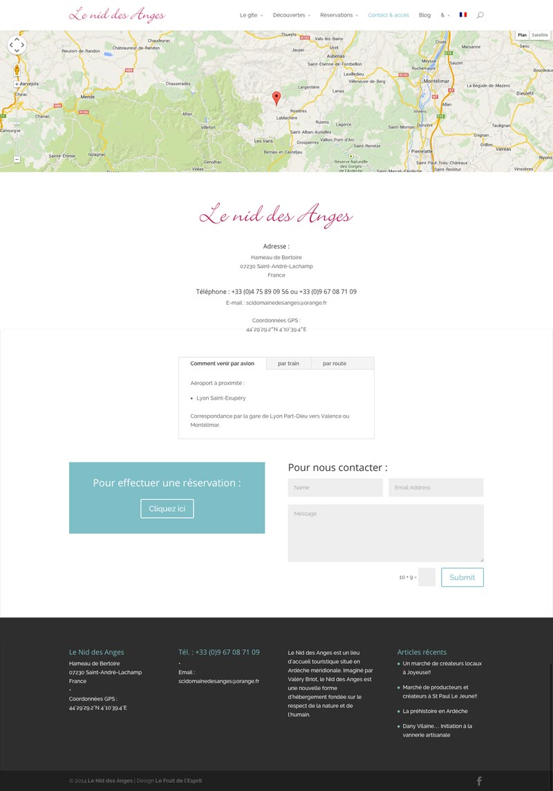 Le Nid des Anges - Site Internet - Contact