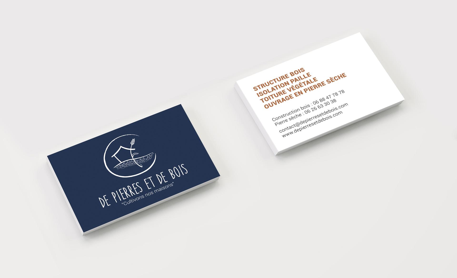 De Pierres et de Bois - Carte de visite - bleue