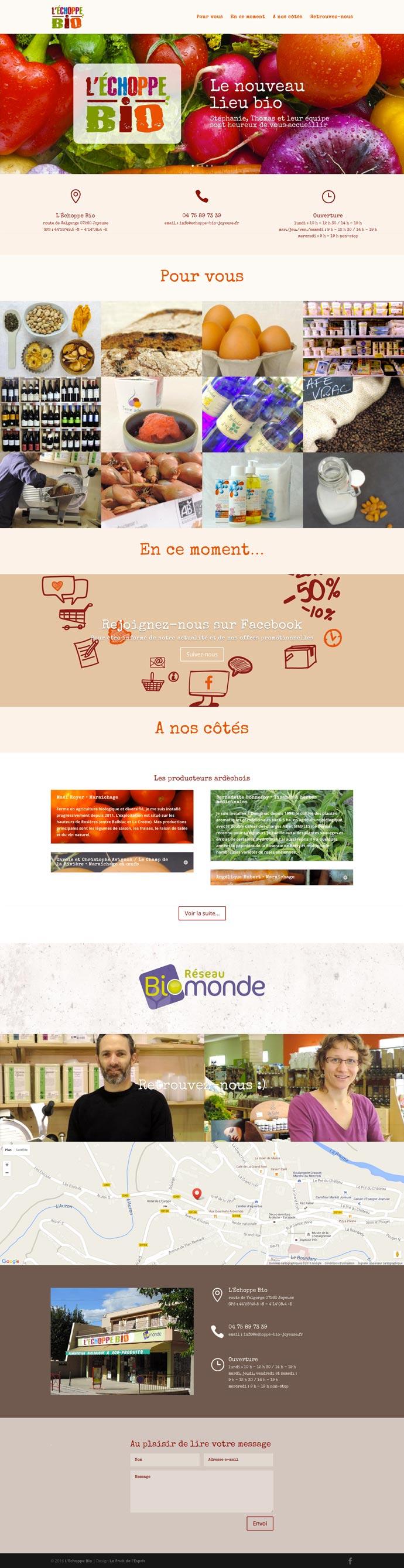 L'Échoppe Bio - Site Internet - Accueil