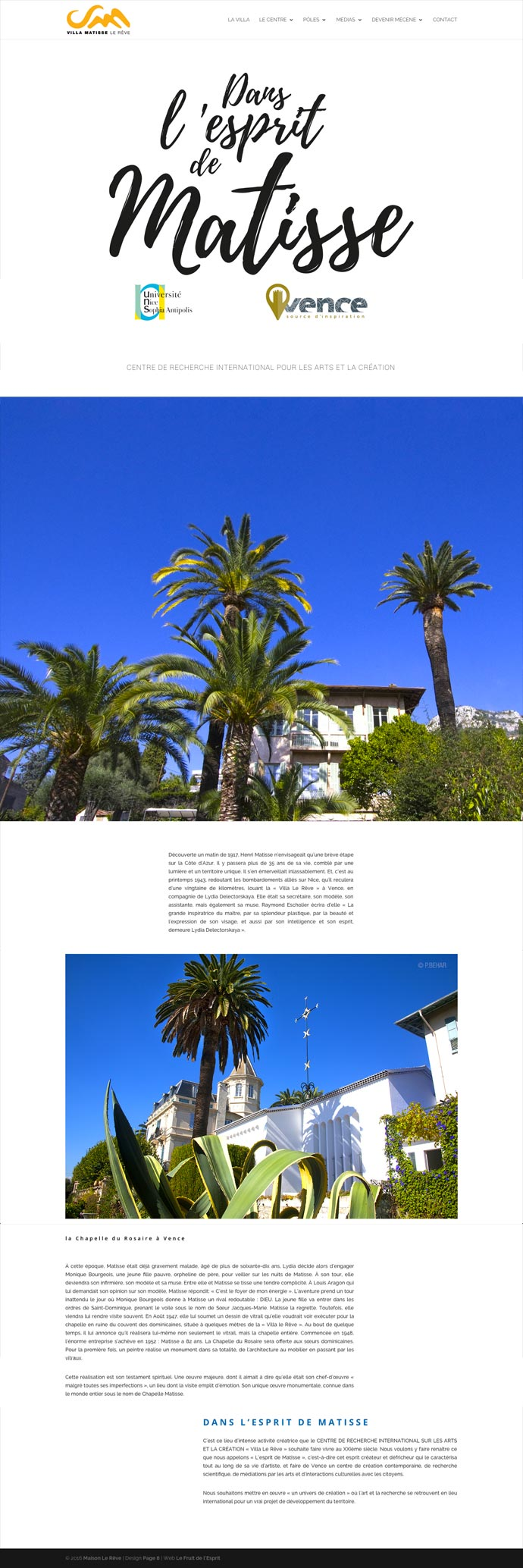 Villa Matisse - Site Internet - Accueil