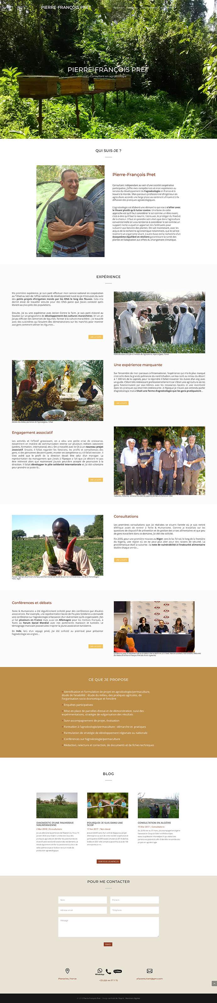 Pierre-François Pret - Consultant en agroécologie - Site internet